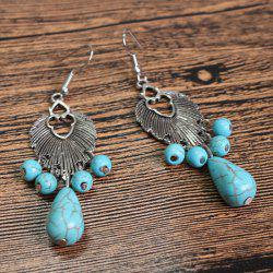 Pair of Chic Turquoise Embellished Ethnic Style Earrings For Women
