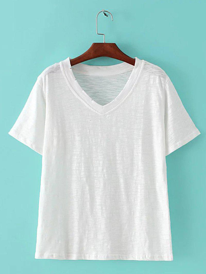 Affordable Chic Women's Candy Color V Neck Short Sleeve T-Shirt