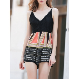 Active Lace Top Printed Women's Romper