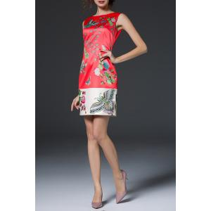 Jacquard Sheath Floral Dress -