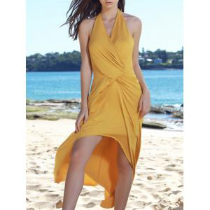 Sexy Halter Sleeveless Hollow Out High Low Hem Women's Dress - Yellow - One Size(fit Size Xs To M)
