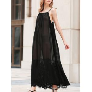 Cami Sheer Lace Insert  See Through Maxi Dress - Black - 2xl