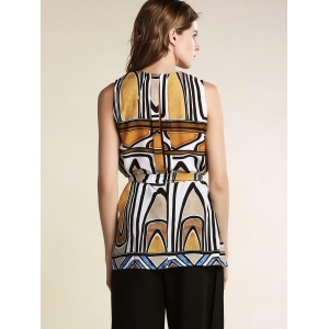 Stylish Round Neck Sleeveless Geometric Pattern Women's Dress -