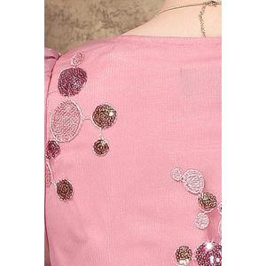 Scoop Neck Sequined Embroidered Dress - PINK L