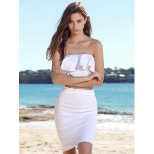 Stylish Strapless Sleeveless Flounced Tube Top + High-Waisted Bodycon Skirt Women's Twinset -