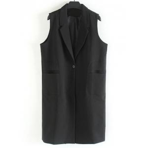 Plus Size Notched Collar Longline Waistcoat - Black - 3xl