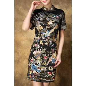 Stand Collar Birds Embroidered Vintage Dress -
