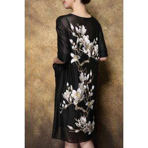 Scoop Neck Floral Embroidered Double Pockets Dress -
