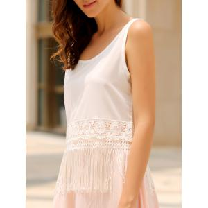 Stylish Scoop Collar Sleeveless Hollow Out Fringe Design Women's Tank Top