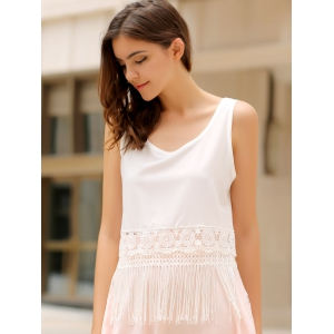 Stylish Scoop Collar Sleeveless Hollow Out Fringe Design Women's Tank Top - WHITE M