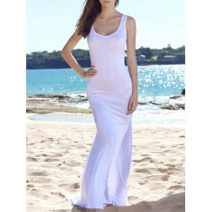 Fitted Fishtail Floor Length Maxi Tank Dress - White - Xl