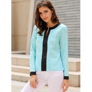 Stylish Round Collar Long Sleeve Color Block Ruffled Women's Blouse -