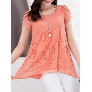 Trendy Scoop Neck Short Sleeve Pure Color High Low Women's Blouse -