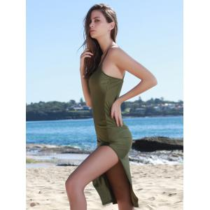 Side Slit Spaghetti Strap Bodycon Day Dress - ARMY GREEN S