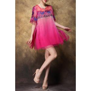 Scoop Neck Embroidered Ombre Silk Dress -