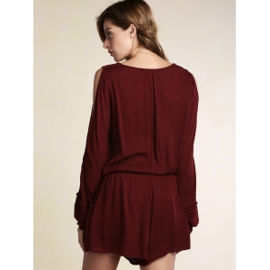 Stylish Long Sleeve Cut Out Embroidered Women's Red Playsuit -