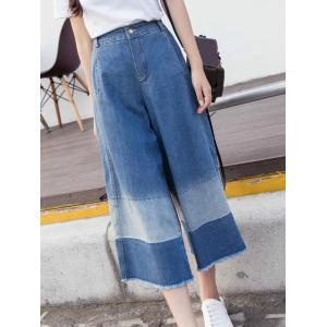 Stylish Zipper Fly Color Block Fringed Ninth Length Pants For Women -