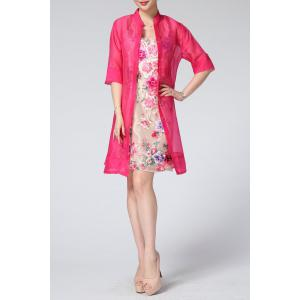 Scoop Neck Floral Embroidered Sundress and Blouse -