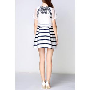 Embroidered Striped Faux Twinset Dress -