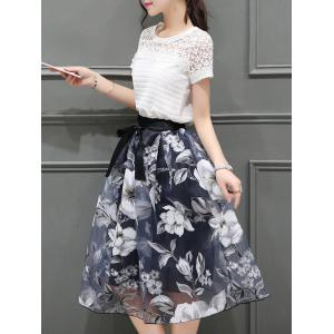 Elegant Round Neck Short Sleeves Floral T-Shirt + Organza Skirt For Women -