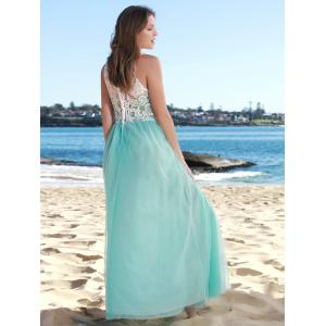 Lace Panel Long Wedding Formal Chiffon Dress - LAKE BLUE S