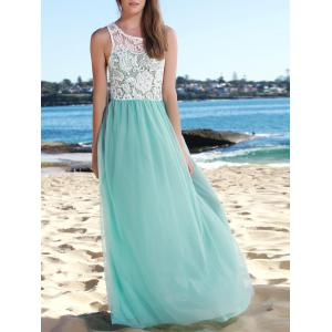 Lace Panel Long Wedding Formal Chiffon Dress - Lake Blue - L
