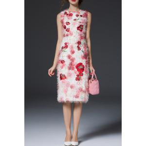 Fuzzy Floral Sheath Dress -