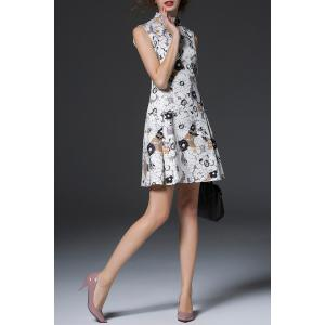 Stand-Up Collar Sleeveless Dress -