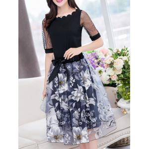 Stylish Jewel Neck Half Sleeves Patchwork T-Shirt + Floral Skirt For Women -