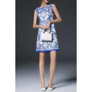 Blue and White Porcelain Print Dress -