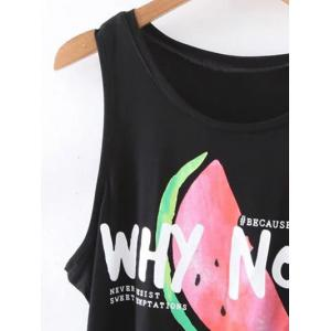 Casual Round Neck Watermelon Letter Print Tank Top For Women -