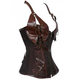 Alluring Floral Patchwork Halter Corset For Women - BROWN 3XL