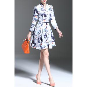 Stand Collar Floral Print Long Sleeve Dress -