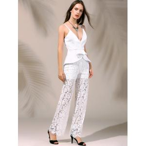 Women's Stylish Plunging Neck Laced Flounce Jumpsuit -