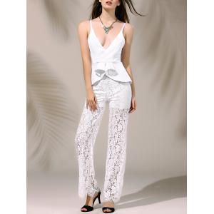 Women's Stylish Plunging Neck Laced Flounce Jumpsuit