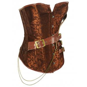 Retro Style Steel Boned Patchwork Floral Corset For Women - BROWN 4XL