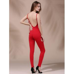 Women's Stylish Backless Pure Color Cut Out Lace-Up Jumpsuit -