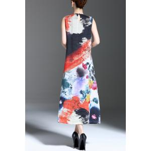 Floral Print Slit Sleeveless Midi Dress -