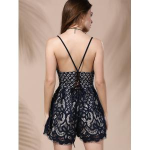 Women's Stylish Plunging Neck Lace Romper -