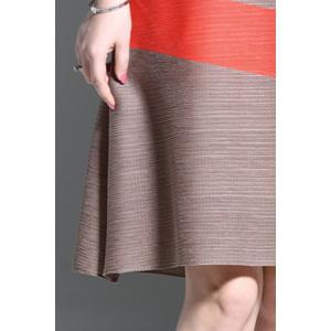 Round Collar Ruched Color Patchwork Dress -