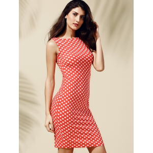 Women's Stylish Sleeveless Polka Dot Jewel Neck Dress -