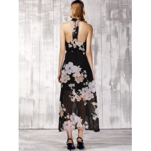 Trendy Stand Collar Sleeveless Floral Print Furcal Backless Women's Dress -