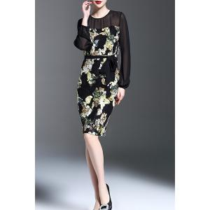See-Through Floral Pattern Bodycon Dress -