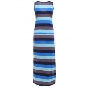 Trendy Scoop Neck Sleeveless Striped Maxi Dress For Women -