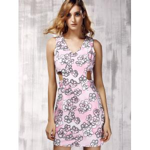 Trendy V-Neck Sleeveless Floral Print Cut Out Women's Dress -
