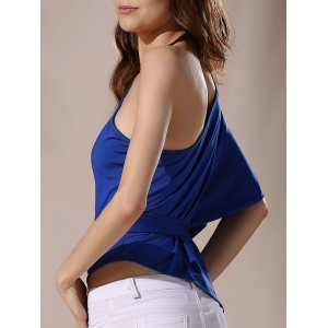 Stylish One-Shoulder Self Tie Asymmetric Half Sleeve Women's Blouse -