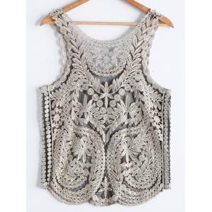 Stylish Scoop Neck Studded Embroidered Mesh Tank Top For Women -