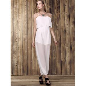 Stylish Spaghetti Strap Spliced Solid Color Women's Jumpsuit -