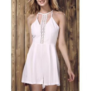 Chic Sleeveless Lace Spliced Hollow Out Solid Color Women's Romper