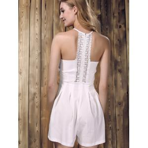 Chic Sleeveless Lace Spliced Hollow Out Solid Color Women's Romper - WHITE M